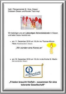 Lebendiger Adventskalender 2018 in Giesen - Copyright Kath.Pfarrgemeinde St.Vitus, Giesen Ortsteam Giesen + Runder Tisch Asyl