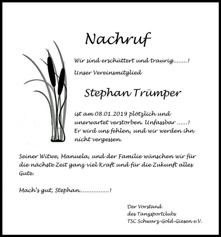 Der TSC trauert um den viel zu frueh verstorbenen Stefan Truemper.